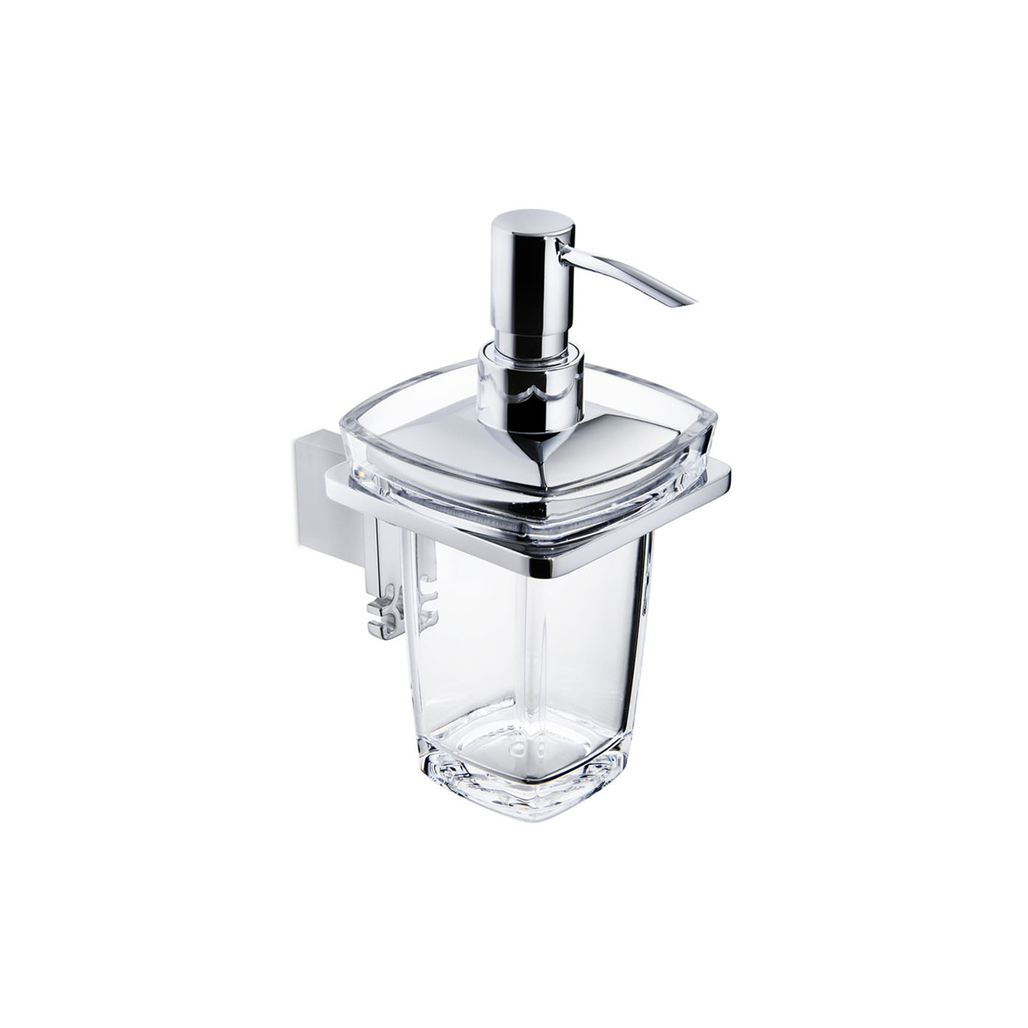 Damasc DM 3201D Polished Chrome Single Holder With Clear Acrylic Soap  Dispenser