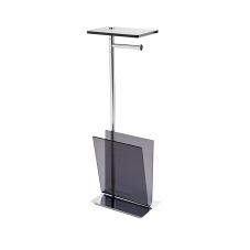 Avenue A57850 Floor Standing Bathroom Accessory Stand in Polished Chrome and Smoke