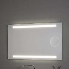 Okkio mirror with light and magnifying mirror